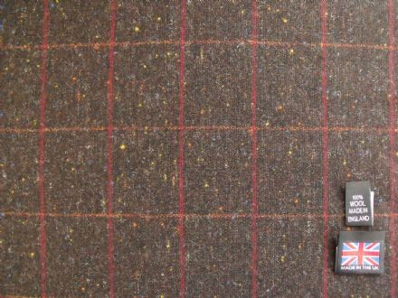 100% Pure New Wool Donegal Tweed Windowpane Check AC54